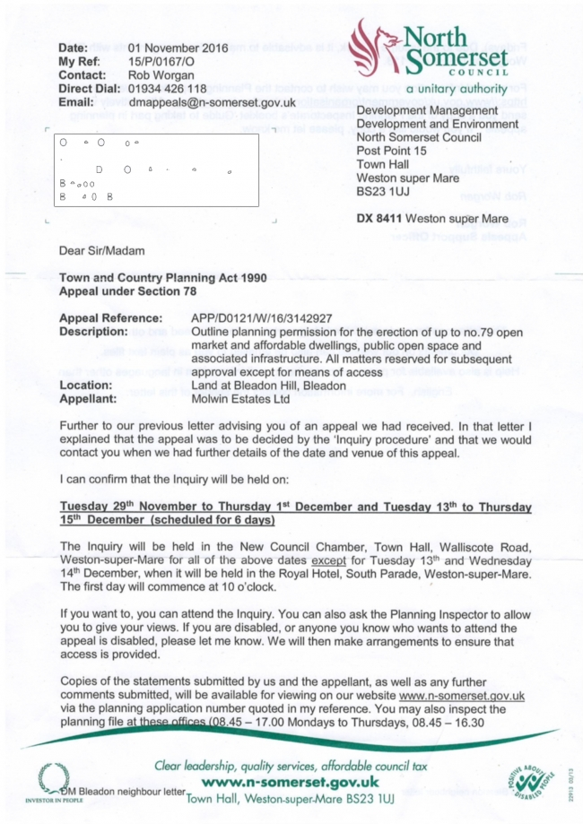 Confirmation of Appeal Dates Letter
