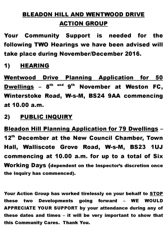 Bleadon Hill Appeals Details click for PDF