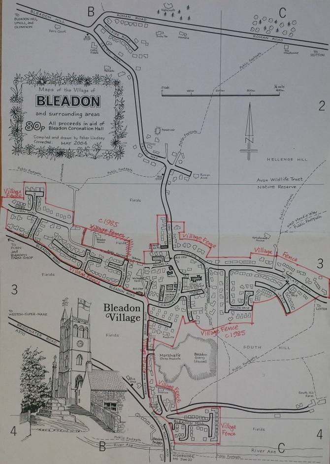 Sketch Map of Bleadon by Peter Lindsay