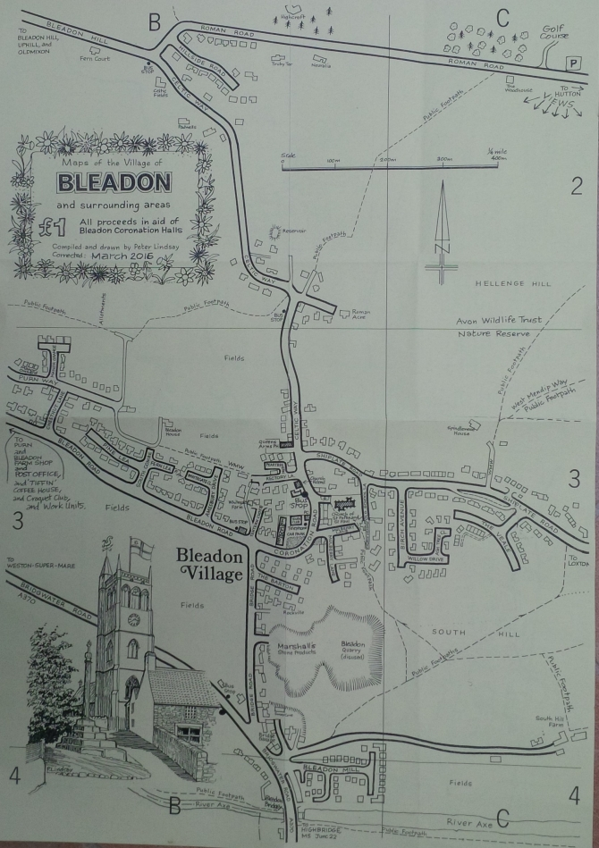 2016 Bleadon Sketch Street Map by Peter Lindsay