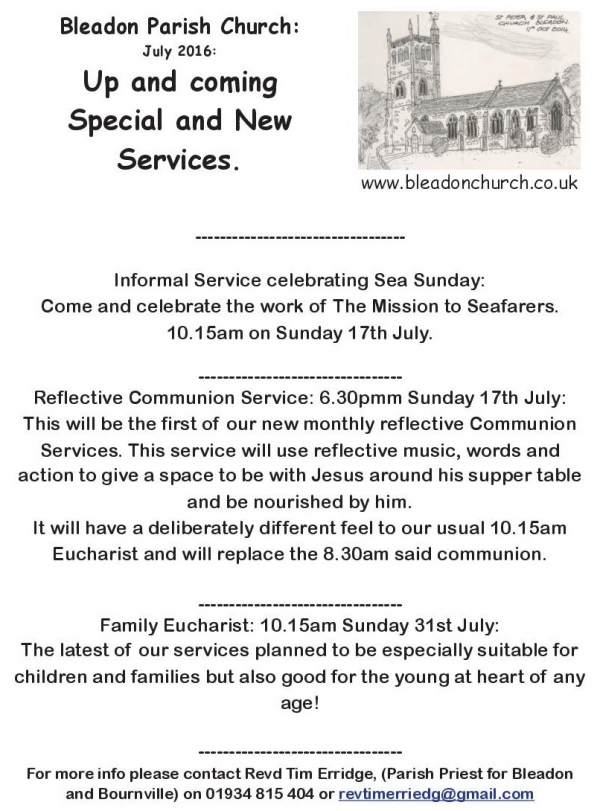 July Church Special Services