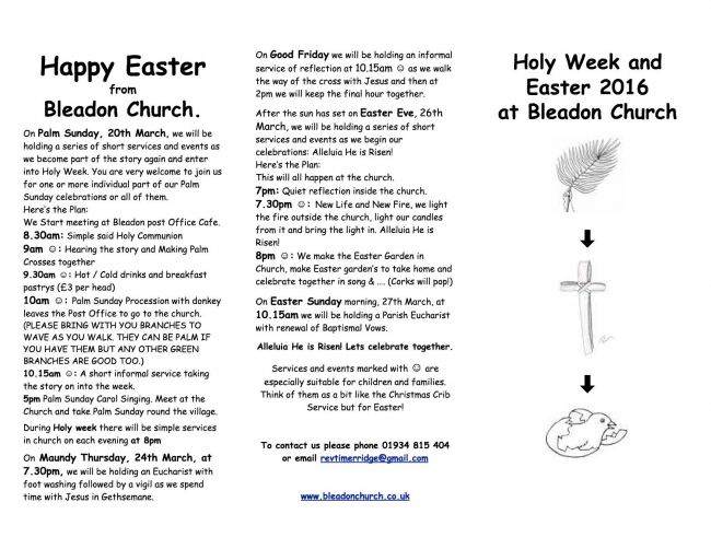 Holy Week and  Easter 2016 at Bleadon Church