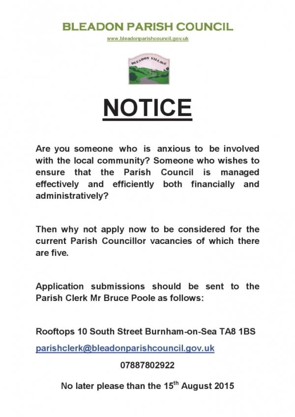 Bleadon parish Council vancies