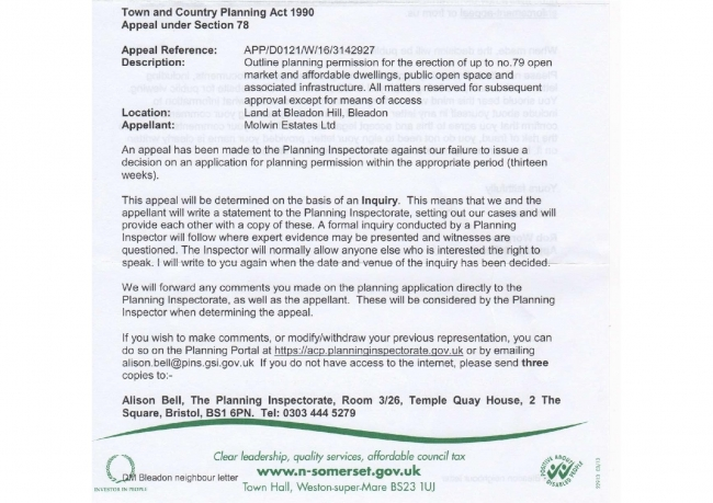 Bleadon Hill Housing Appeal pg 1