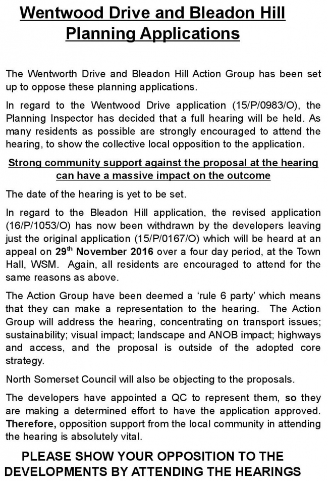 Bleadon Hill Housing Appeals Information