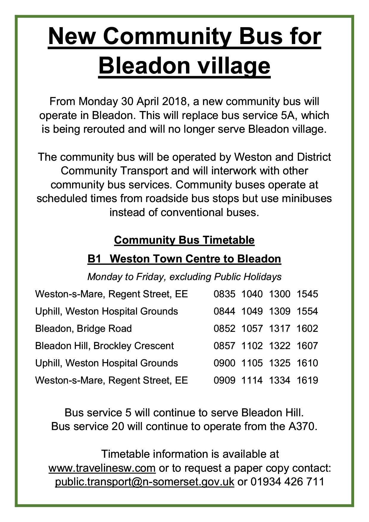 Bleadon Community Bus Information