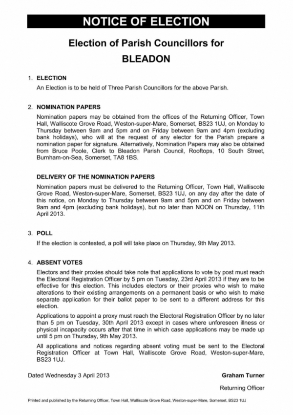 Notice of Election for Bleadon Parish Councillors