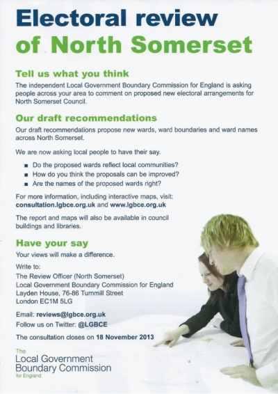 Consultation for Electoral review of North Somerset ENDS 18th NOVEMBER 2013
