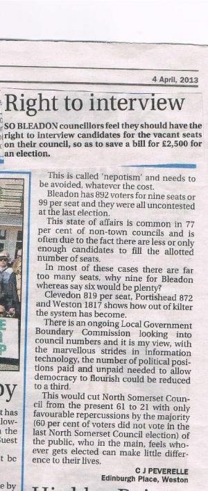Letter to Mercury editor on Bleadon Election