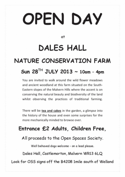 Open Day at Dales Hall Nature Conservation Farm  in aid of Open Spaces Society